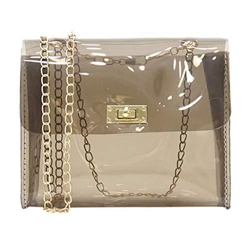 NMERWT Frauen Umhängetasche Transparente Umhängetasche Elegante Transparente Damen Mädchen Jelly Messenger Bag Volltonfarbe Handtasche Schultertasche - Messenger Tasche Ogio