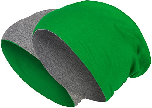 2 in 1 Wendemütze - Reversible Slouch Long Beanie Jersey Baumwolle elastisch Unisex Herren Damen Mütze Heather in 24 (8) (Dark Grey/Dark Green) - Heather Dark Green