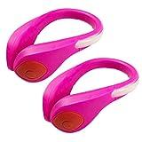 Luces LED Suaver, para correr, con 2 modos de seguridad nocturna, para deportes al aire libre, luces LED brillantes para correr, ciclismo, escalada, correr, equitación, 1 par, Pink/red light