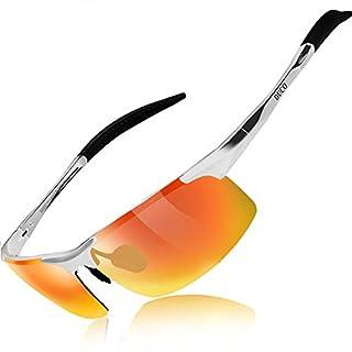 Duco Men's Driving Sunglasses Polarised Glasses Sports Eyewear Fishing Golf Goggles 8177S (Silver Frame Orange Lens)