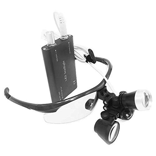 BoNew Vergrößerungs-Set für Chirurgisches Fernglas, 3,5 x 420 mm, mit LED-Kopflicht, Schwarz