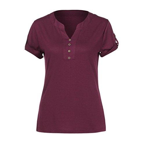 VEMOW Sommer Loose Lady Mädchen Frauen V-Ausschnitt Kurzer Knopf Ärmel Sommer Blusen Lässige Tägliche Sport Arbeit Henley Shirts T-Shirt Pullover Tees(Rot, EU-48/CN-2XL) (Flanell Shirt Top Henley)