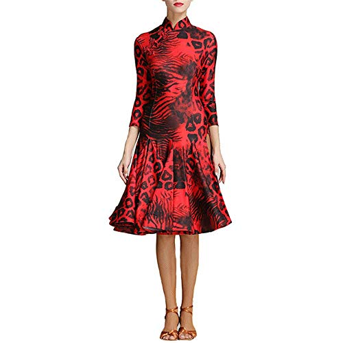 Latin Dance Dress Frauen Leopardenmuster Latin Dance Kleid Side Split Retro Cheongsam Lyrical Kleid Ballsaal Dancewear Moderne Walzer Tanzkostüm Prom Party Kleid Kleid ( Farbe : Rot , Größe : S ) - Split-retro-kleid-bekleidung