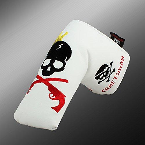 Craftsman Golf King Skull EMBROIDERIED Blade Putter Cover für Titleist Scotty Cameron Taylormade Mizuno Callaway Weiß weiß