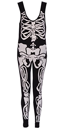 Ladies filles Halloween Squelette Robe moulante Leggings Bodysuit plus EUR Taille 36-54 Jumpsuit