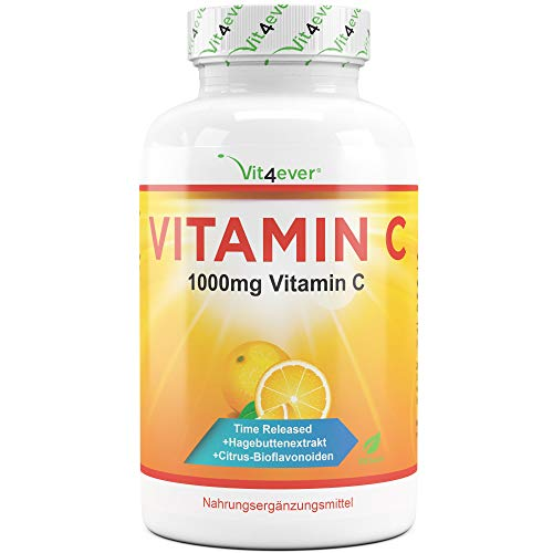 Vit4ever® Vitamin C 1000mg - 365 Tabletten im Jahresvorrat - Time Released Effekt - Laborgeprüft - Vitamin C + Hagebuttenextrakt + Citrus-Bioflavonoide - Vegan & Hochdosiert (Natürlichen Vitamin-c-serum)