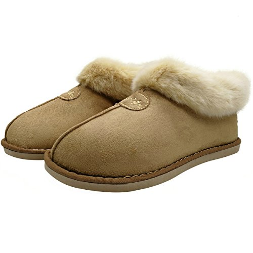Oncai Warm Plush Ladies High Pantofole Stivaletti Ankle Boots Antiscivolo Indoor / Outdoor Beige