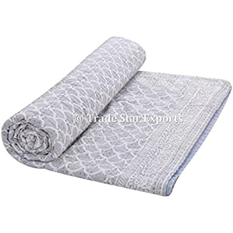 Indiano blocco stampa tessuto trapunta copriletto kantha, Bohemian Bedding Copriletto, coperta di cotone Boho matrimoniale