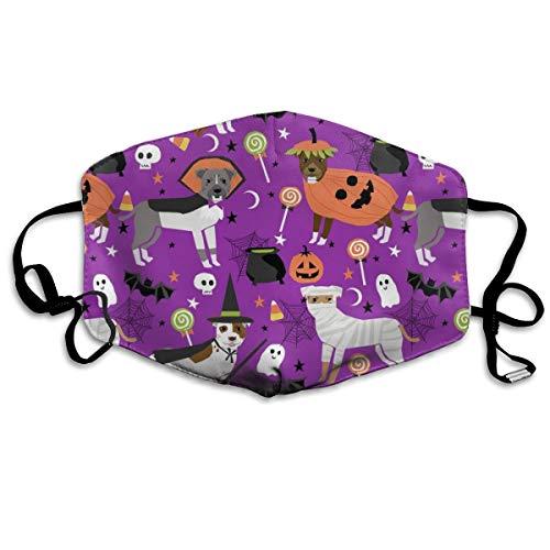 stüm Hund - süße Hunde im Kostüm Halloween Design Candy Corn, Candy Lustiges Haustier - Lila Anti-Staub-Maske Anti-Schmutz-Maske waschbar wiederverwendbare Mundmasken ()