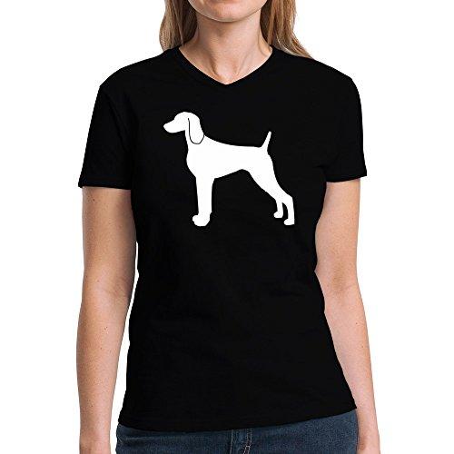 Eddany Weimaraner silhouette Damen V-Ausschnitt T-Shirt -