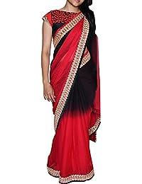 Swara Fashion Women's Georgette Thread Work Saree(SFP-203_Black, Red)