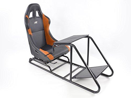 Rennsimulationssitz Gamer für PC und Spielekonsolen Kunstleder schwarz/orange