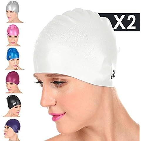 [Nueva llegada] ZIONOR Manatee C3 silicón superior Gorros de Natación para mujeres de los hombres, a prueba de agua para corto, mediano, pelo largo; Flexible suave, cómodo, suave Fit (2 Paquetes)