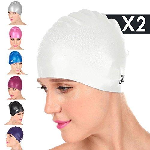[Nuovo Arrivo] ZIONOR Manatee C3 silicone Cuffia da nuoto per gli uomini donne, impermeabile per brevi, medi, Capelli lunghi; Flessibile, confortevole, morbido, in forma Gentle (2 Pezzi) (Bianco)