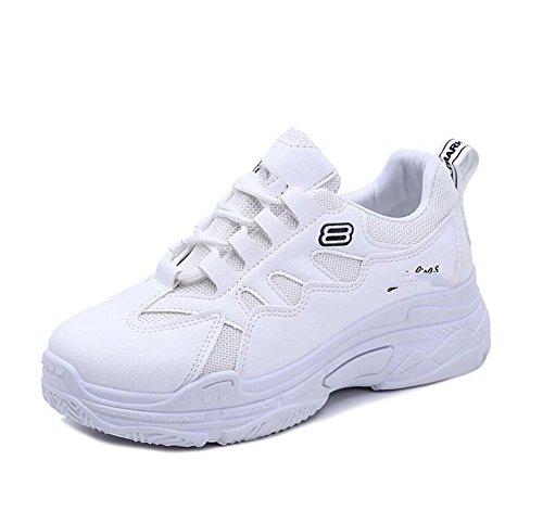 Chaussures de Sport pour Femmes Confortable Espadrilles Sauvages Chaussures Blanches Plates Noir/Rose/Blanc Taille 35-39