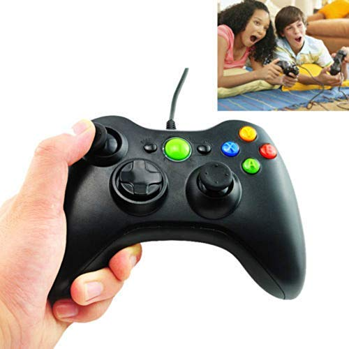 enshey Schwarz USB Wired Controller Joypad Game Pad Joystick für Microsoft PC Computer (Microsoft Game Pad Für Pc)