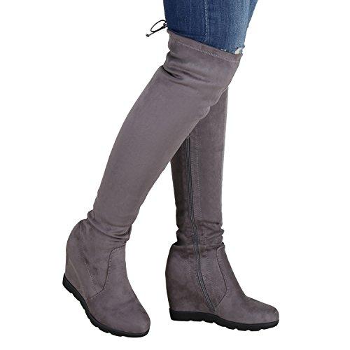 Damen Overknees Wedges Stiefel Keil Absatz Profil Sohle Grau