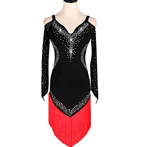 HAOBAO Gesäumt Lateinischer Tanz Performance Tanzkleidung Lange Ärmel Schultergurte Cha Cha Samba Stretch Kostüm Strass Tanzrock EIN Stück, XXL