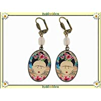 Earrings resin Frida Kahlo butterfly flower blue pink black brass bronze pearl personalized gifts Christmas wedding ceremony anniversary guests mother's day couples