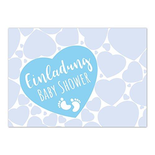 8 x Einladung Baby Shower Party/Einladungskarten mit Umschlag im Set/Motiv: Viele Herzen - blau Junge/Babyparty Karte/Postkarte/
