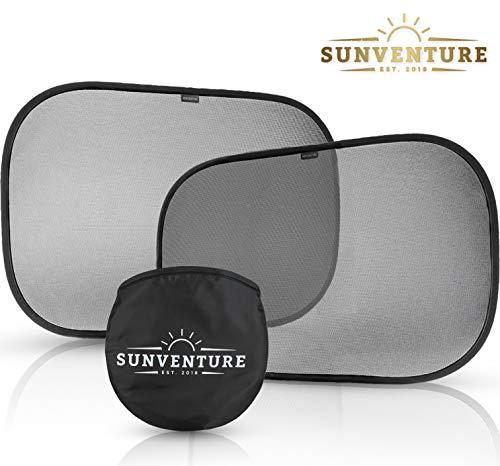 SunVenture Sonnenschutz - Erstklassiger Auto-Snnenschutz | 48x30cm | für Babys & Kinder - Selbsthaftende UV Schutz Sonnenblende inklusive Aufbewahrungstasche - leicht anzubringen & abzunehmen