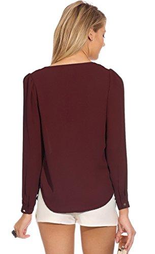 Smile YKK Chemisiers Transparents Blouse Femme Manche Longue T-shirt Sexy Col V Fantaisie Bordeaux