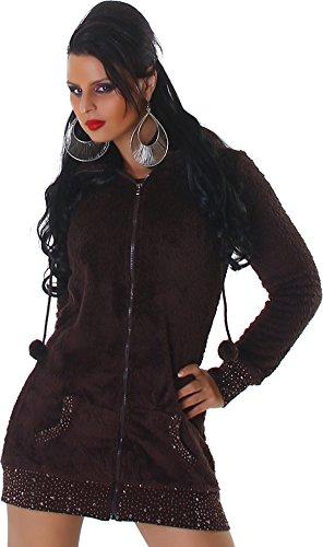 L Mode Damen Jacke Kuscheljacke Kapuze Hoddie Strass-Steinchen - Braun , S (Strass-jacken Für Frauen)