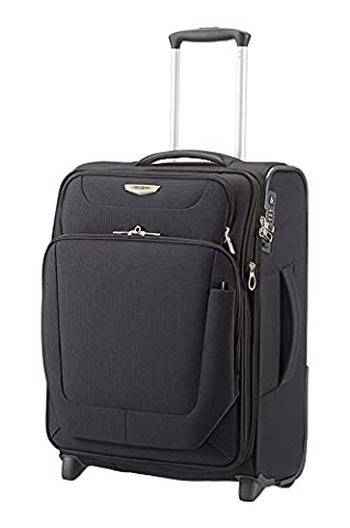 Samsonite Spark Upright Expandable 55cm/20inch BLACK 2 Wheel Suitcase