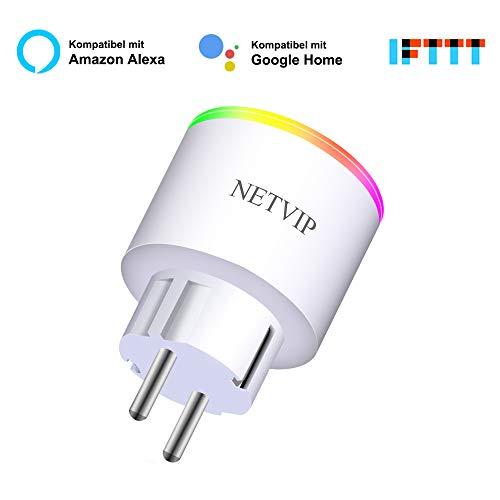 NETVIP Smart Steckdose Ferngesteuerte Stecker WLAN Intelligent Plug Remote Voice Steuerung Timer Schaltbare Stromverbrauch messen Smart Plug Kompatibel mit Alexa Echo/Google Home/IFTTT