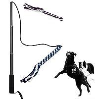 Asocea interactif pour chien extensible Teaser Baguette avec 2Queue de corde à mâcher jouet pour Fun Obéissance d'entraînement et d'exercice
