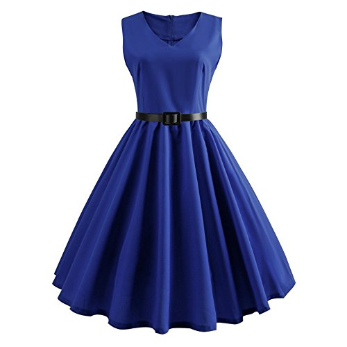OverDose Damen Urlaub Dating Stil Frauen Mädchen Sommer Retro Big Swing Dot Gedruckt Vintage Party Bar Elegant Plus Size Kleid Rock ()
