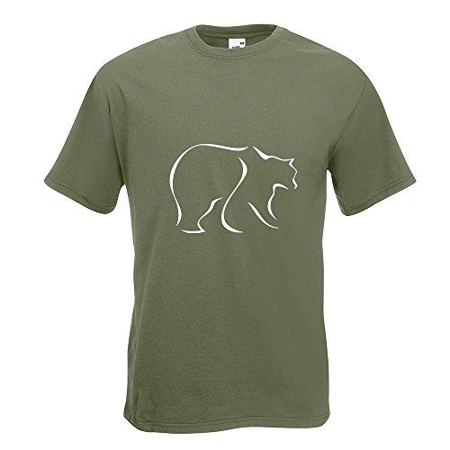 KIWISTAR - Bär T-Shirt in 15 verschiedenen Farben - Herren Funshirt bedruckt Design Sprüche Spruch Motive Oberteil Baumwolle Print Größe S M L XL XXL Olive