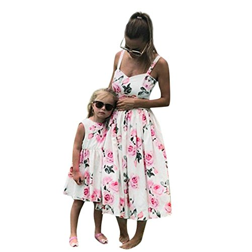 Family Matching Dresses Mother Daughter Sleeveless Floral Dress Women Kids Clothes 3-9T