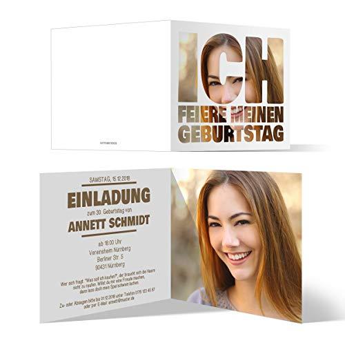 60 x Geburtstag Einladungen Einladungskarten individuell Foto Text - Fotoschrift