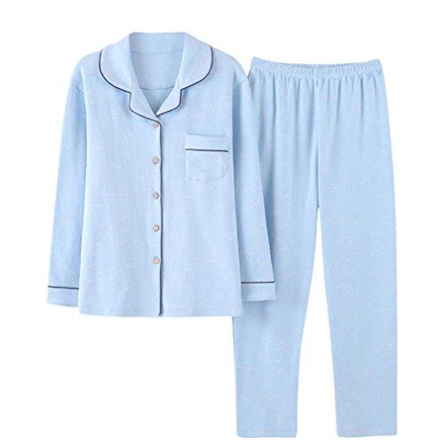 Donna Pigiama Puro cotone manica lunga Autunno e inverno Casual Home Set di abbigliamento xxl (100% pure cotton)
