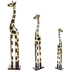 Juego de figuras decorativas en forma de jirafa, 3unidades, 120cm-60cm-50cm, madera, estilo africano
