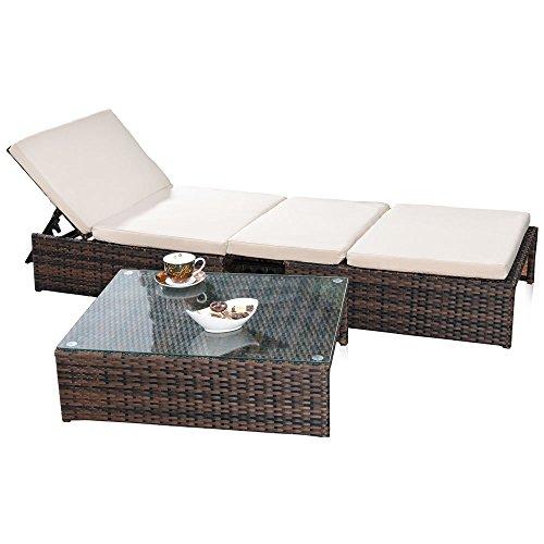 Melko Gartenset, Poly Rattan, Lounge Sitz-Garnitur mit Glastisch, inklusive Kissen, mehrteilig, Braun