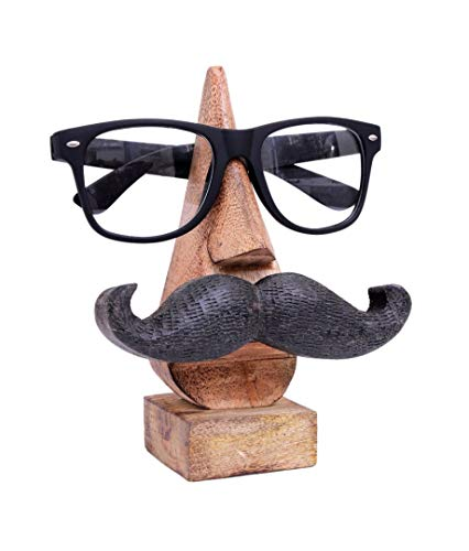 Store Indya, Quirky Handmade 'Nose Shape' Stand for Glasses Rosewood Glasses Sunglasses Support Bracket For Home And Office Decoration (Nose Mustache shape marron2)