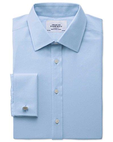 Bügelfreies Extra Slim Fit Hemd aus Twill in himmelblau blau (Umschalgmanschette Cuff)