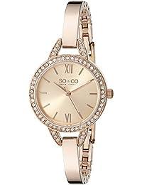 So & Co New York 5088.4 - Reloj con mecanismo de cuarzo para mujer, color oro rosa, esfera analógica con cristales, correa de acero inoxidable