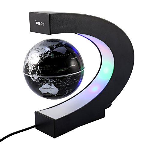 Globe flottant C Forme Levitation Rotating magnétique Carte du monde coloré lampe LED cadeau décoration, Globe flottant avec des lumières LED pour Décorations Maison et le Bureau(EU)
