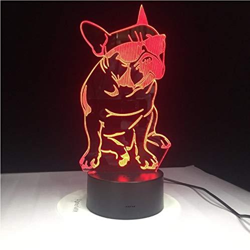 3D Led Nachttischlampen 7 Farben Tragen Sonnenbrille Hund Lampe Nacht Lampen Für Kinder Touch Usb Tisch Lampara Lampe Schlafen Nachtlicht