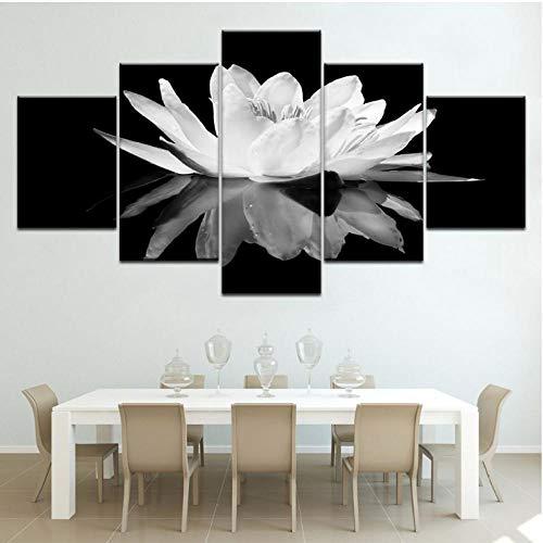 Rjunjie Pintura sobre Lienzo Home Bedroom 5 Set Print Poster Lotus Flower...