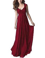 Sparkling YXB Damen Vintage V-Ausschnitt Spitzen Brautjungfer Chiffon Cocktailkleid Abendkleider