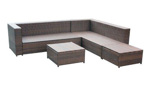 XINRO 19tlg XXXL Polyrattan Gartenmöbel Lounge Sofa günstig – Lounge Möbel Lounge Set Polyrattan Rattan Garnitur Sitzgruppe – In/Outdoor – handgeflochten – mit Kissen – braun - 6