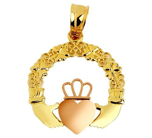 Piccoli Tesori - pendent - 10 ct 471/1000 Claddagh Rosa Oro Giallo - Rosa Claddagh Pendente