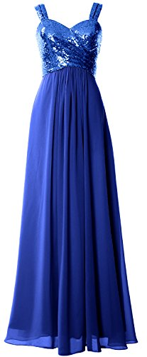 MACloth Women Straps Sequin Long Bridesmaid Dress Cowl Back Wedding Formal Gown Royal Blue