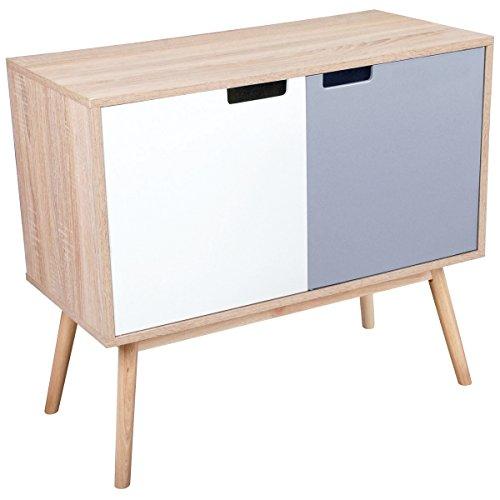 Promobo–Buffet Porta bicolore Mobile scandinavo colore legno naturale 80x 38x 70cm.