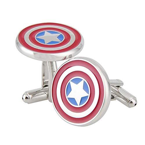 Hangqiao Rhodium Plated Captain America Cufflinks Marvel Comics Formal Wear