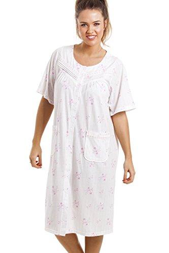 55f62a41c8 Nachthemd mit Knopfleiste vorne - knielang & kurzärmelig - weich & bequem -  rosa Blumenmuster